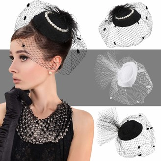 Satinior 3 Pieces Fascinator Hats Veil Mesh Pillbox Hat Clips Faux Feather Mesh Clip Headband Women Wedding Party Mini Headwear