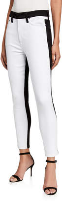 Alice + Olivia JEANS Good Two-Tone High-Rise Ankle Skinny Jeans