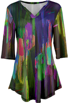 Azalea Purple & Green Abstract V-Neck Tunic - Plus Too