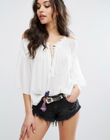Boohoo Cold Shoulder Tassel Detail Top