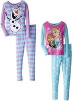 Disney Big Girls' Frozen Anna Elsa and Olaf 4 Piece Pajama Set