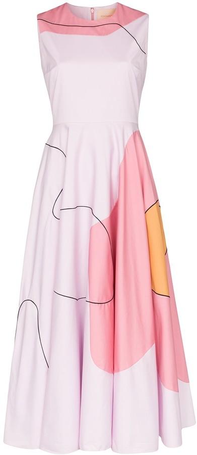 Roksanda Abstract Print Sleeveless Midi Dress