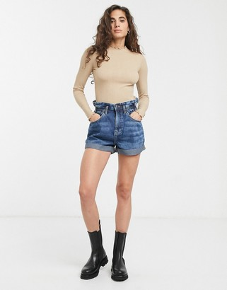 Only Basso high waisted denim shorts-Blue