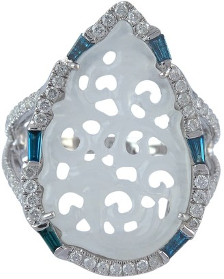 Artisan 18K Solid White Gold Diamond Carving Jade Cocktail Ring Jewelry
