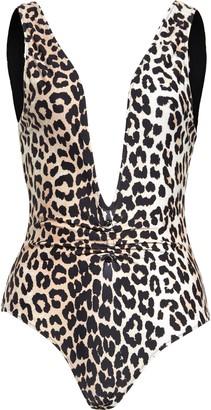 Ganni Leopard Print One-Piece Swimsuit