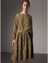Burberry Zip Detail Floral Silk Dress , Size: 08, Yellow