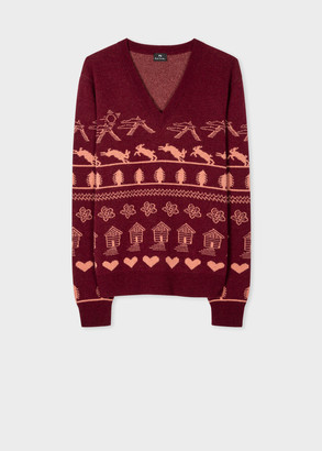 Women's Burgundy 'Rabbit Fairisle' Jacquard V-Neck Sweater