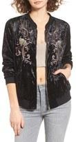 Somedays Lovin Women's Erin Embellished Velvet Bomber Jacket