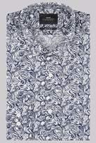 Moss Bros Extra Slim Fit Navy Botanical Print Shirt