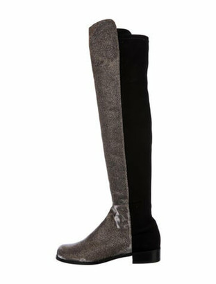 Stuart Weitzman Colorblock Pattern Boots Black
