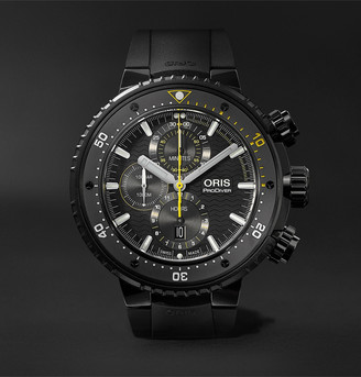 Oris Prodiver Dive Control Limited Edition Automatic Chronograph 51mm Dlc-Coated Titanium And Rubber Watch, Ref. No. 01 774 7727