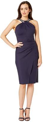 Alex Evenings Short Slimming Dress with Keyhole Cut Out Halter Neckline