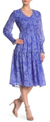 Taylor Chiffon Paisley Print Smocked Dress