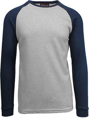 Galaxy By Harvic Galaxy by Harvic Men's Tee Shirts Heather - Heather Gray & Navy Raglan Thermal Shirt - Men