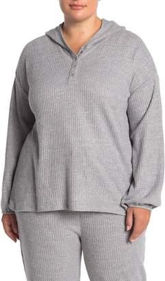 Como Vintage Thermal Dolman Sleeve Henley Hoodie (Plus Size)
