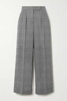 Max Mara Erice Cropped Prince Of Wales Checked Wool Wide-leg Pants - Dark gray