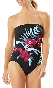 Tommy Bahama Midnight Orchid Bandeau One Piece Swimsuit