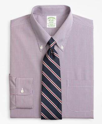 Brooks Brothers Stretch Milano Slim-Fit Dress Shirt, Non-Iron Micro-Check