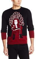 Alex Stevens Men's Santa's Candy Cane Throne Ugly Christmas Sweater