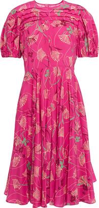 Valentino Pintucked Floral-print Silk Crepe De Chine Dress