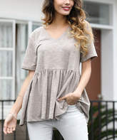 Z Avenue Women's Tee Shirts Taupe - Taupe V-Neck Ruffle Tee - Women & Plus