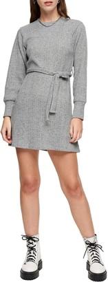 Topshop Long Sleeve Belted Mini Dress