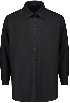 Eva D. Oversized Shirt 'Axl' Black Of Wool With Leather Yoke
