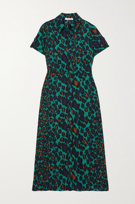 Diane von Furstenberg Georgia Leopard-print Crepe Shirt Dress - Green