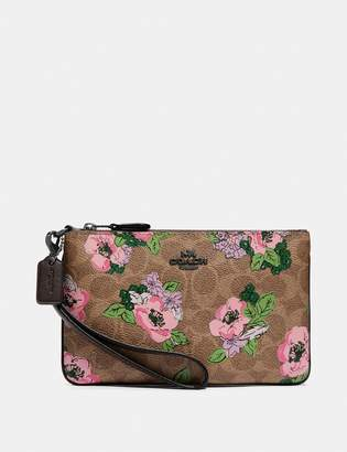 Coach Small Wristlet In Signature Canvas With Blossom Print