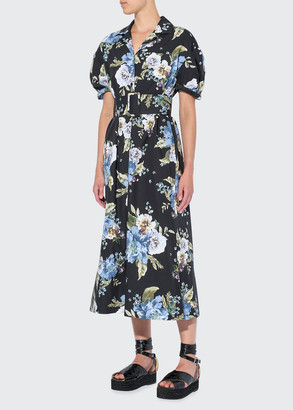 Erdem Frederick Floral Print Belted Cotton Dress