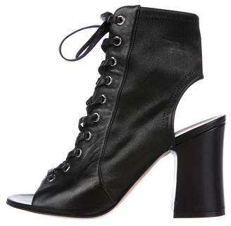 Gianvito Rossi Peep-Toe Lace-Up Booties