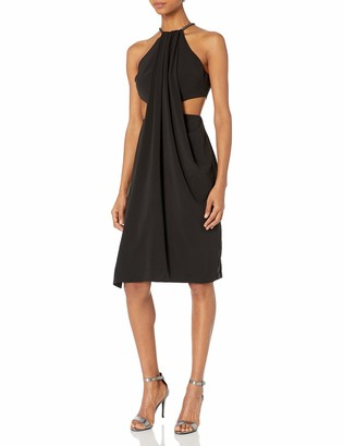 Halston Women's Sleeveless High Neck Draped Crepe Dress