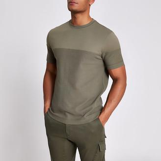 River Island Khaki textured blocked slim fit T-shirt