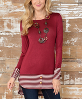 Celeste Burgundy & Gray Stripe Tunic