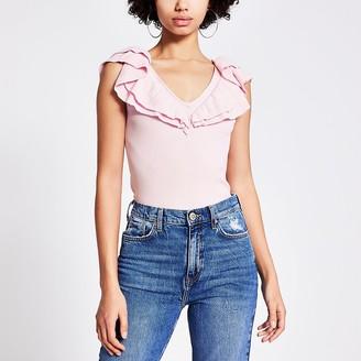 River Island Pink frill V neck knitted vest top