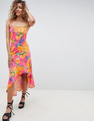 Asos Design DESIGN hi lo hem cami maxi dress in bright floral-Multi