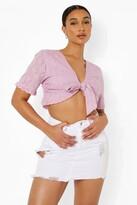 Thumbnail for your product : boohoo Asymmetric Distressed Denim Mini Skirt