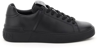 Balmain B COURT LEATHER SNEAKERS 39 Black Leather