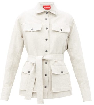 Art School Belted Linen Jacket - Beige