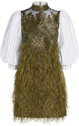 Ganni Puff-Sleeve Feather Mini Dress