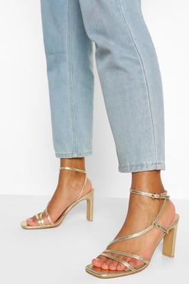 boohoo Square Toe Strappy Flat Heels
