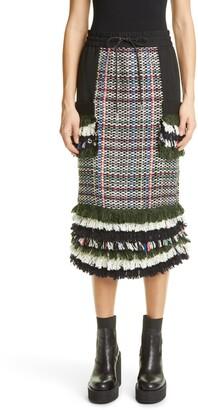 Sacai Side Zip Tweed Midi Skirt