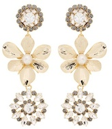 Erdem Crystal embellished pearl clip-on earrings