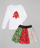 Beary Basics White Top & Xmas Lights Skirt - Infant Toddler & Girls