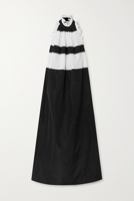 Givenchy Ruffled Taffeta And Lace Halterneck Gown - Black