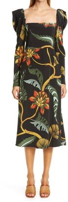 Johanna Ortiz Floral Print Puff Shoulder Silk Midi Dress
