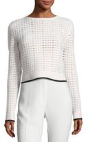 Narciso Rodriguez Grid-Knit Cropped Sweater with Contrast Tipping, White/Black