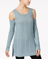 Jessica Simpson Ciro Pointelle-Knit Cold-Shoulder Sweater