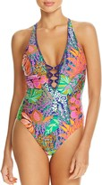Trina Turk Tropical Plunge One Piece Swimsuit
