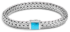 John Hardy Sterling Silver Classic Chain Medium Bracelet with Turquoise